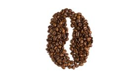Coffee bean made of coffee beans. Symbol isolated on white backg stock photo