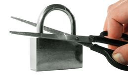Hacking of a padlock Stock Images