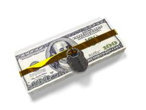 Isolated on a white background pack dollars closed lock, the concept of the safe storage  funds, 3d render Stock Images