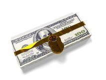Isolated on a white background pack dollars closed lock, the concept of the safe storage  funds, 3d render Stock Image