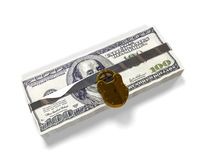 Isolated on a white background pack dollars closed lock, the concept of the safe storage  funds, 3d render. Isolated on a white background 3d render pack dollars Stock Image
