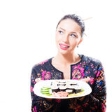 Isolated on white background portrait of pretty gorgeous brunette woman holding plate full sushi Royalty Free Stock Image