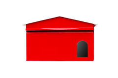 Isolated white background. Red Mailbox With Mail Stock Image
