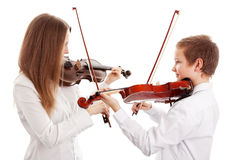 Violin duet. Isolated on white background, Selective focus stock photo