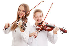 Violin duet. Isolated on white background, Selective focus stock photos