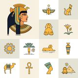 Isolated on white background set of icons and illustrations related to Egypt. stock illustration