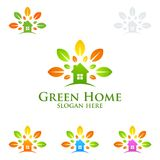 Green Home logo, Real Estate vector logo design with House,  Leaf and ecology shape. Isolated on white background vector illustration Royalty Free Stock Photos
