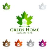 Maple with Green Home logo, Real Estate vector logo design with House and ecology shape, isolated on white background. Isolated on white background vector Stock Photography