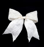 Isolated white bow for holiday gift box on black Stock Photography