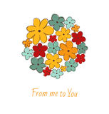 Isolated on white bunch of flowers. Bouquet. Cute template with floral circle and place for your text Stock Photos