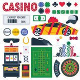 Isolated on white casino equipment as gambling roulette, pocker table, prizes as car and money. Bet games objects vector illustration