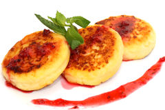 Isolated on white cheese pancakes royalty free stock photo