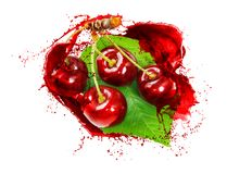 Isolated on white cherries, cherry juice squirts. Red cherries covered in cherry juice,  cherry juice squirts, isolated on white background Stock Photo