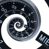Isolated on white classic modern black silver clock watch abstract fractal surreal spiral. Watch clock unusual abstract texture. Pattern background. Modern Stock Images