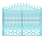 Isolated on white closed iron gate fence vector Royalty Free Stock Photo