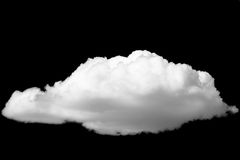 Isolated white cloud on black background. Isolated single white cloud on black background Royalty Free Stock Photo