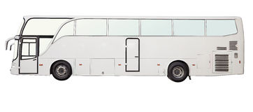 Isolated white color bus. Side view Royalty Free Stock Photos