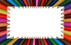 Isolated on white colorful rainbow pencils frame for children education school application. Rainbow frame design. Painting frame. Made of pencils Stock Image