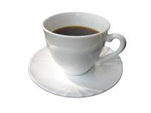 Isolated white cup of coffee on saucer Royalty Free Stock Photography