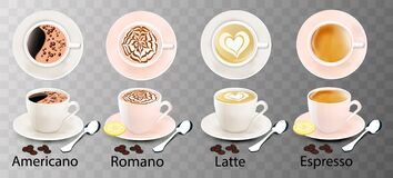 Free Isolated White Cups Of Coffee With A Spoon, Top And Side View, Romano, Americano, Espresso, Latte Stock Photo - 197783070