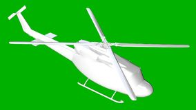 isolated white 3d rendering of a helicopter on a green backgroun Royalty Free Stock Photo