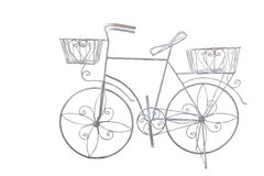 Isolated white decorated bicycle on black Stock Image