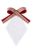 Isolated white diamond shape woven gift tag with r Stock Photos