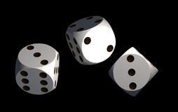 Isolated white dices. On black background - 3d render illustration Royalty Free Stock Image