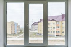 Free Isolated White Double Or Triple Plastic Window Isolated At Home Room F Royalty Free Stock Photos - 134485178