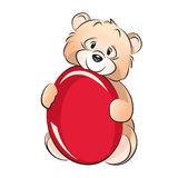 Teddy Bear - Easter. Isolated on white editable vector image of a little bear with an egg on the occasion of Easter Royalty Free Illustration