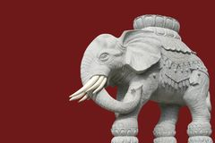 Isolated white elephant statue. On red background Stock Photos