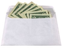 Isolated white envelope with dollars on white, Stock Image