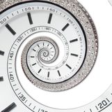 Isolated on white futuristic modern white clock watch abstract fractal surreal spiral. Watch clock unusual abstract texture. Pattern fractal background. Modern Stock Image