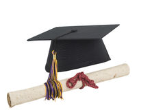 Isolated on white Graduation cap and diploma Royalty Free Stock Photos
