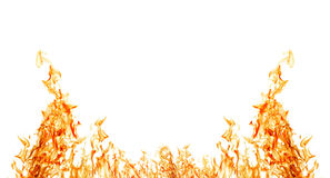 Isolated on white half of orange fire frame Royalty Free Stock Images