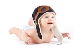 Cute happy baby boy in diaper and pilot hat. Isolated on white, happy baby caucasian boy in diaper and pilot hat Stock Photos