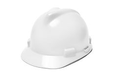 Isolated white helmet. Isolated white hard helmet or hat Stock Photography