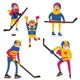 Isolated on white hockey family with hockey sticks and puck. Happy parents with kids skating and playing Royalty Free Stock Photography
