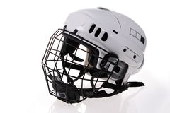 Isolated white hockey helmet Royalty Free Stock Images