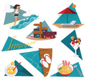Isolated on white  illustration with set of summer vacation images. Happy girl and sea, ice cream, cocktail, cool noodle, fl Royalty Free Stock Photo