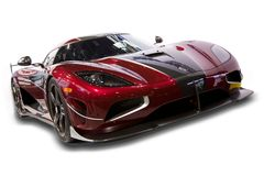 Koenigsegg Agera RS Supercar. A isolated on white Koenigsegg Agera RS Supercar featured at the 2018 North American International Auto Show.  Photograph taken Stock Image