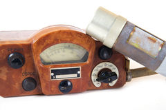 Isolated on white old geiger counter. Stock Photo