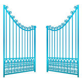 Isolated on white open iron gate fence vector Royalty Free Stock Photography