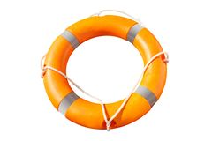 Orange lifebuoy ring with life lines royalty free stock photography
