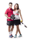 Isolated on white paddle tenis mixed couple team Stock Photos