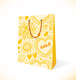 Isolated on white pocket  Ornamental yellow paper- Royalty Free Stock Images