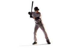 Isolated on white professional baseball player. In action Royalty Free Stock Photo