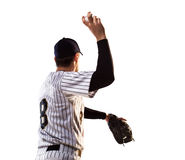 Isolated on white professional baseball player Stock Images