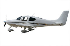 Isolated white propeller plane. With clipping path stock photography