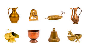 Isolated on white retro brass objects collection Stock Photos